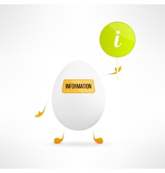 Happy cartoon egg creature with information sign vector