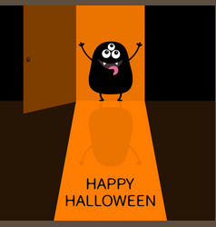 happy halloween screaming monster silhouette vector image