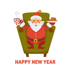 happy new year cartoon santa drink tea vector image