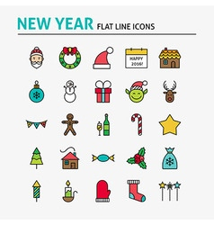 Happy New Year Colorful Flat Line Icons Set vector image