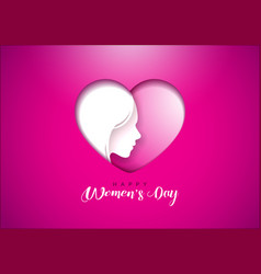 happy womens day greeting card design with woman vector image