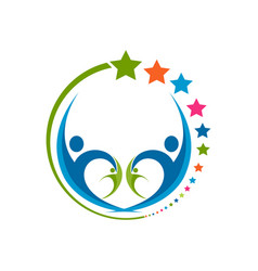 Human star creative logo design star people vector