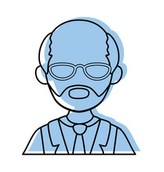 isolated old man upperbody vector image
