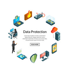 isometric data and computer safety icons vector image