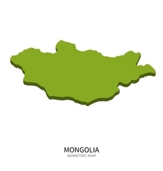 Isometric map of Mongolia detailed vector