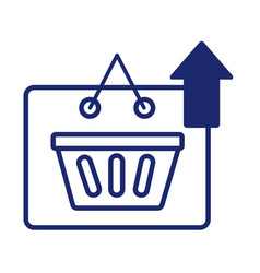 label with shopping basket and arrow up vector image