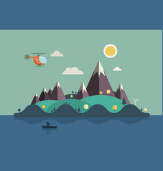 landscape with boat on ocean flat design island vector image