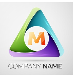 Letter M logo symbol in the colorful triangle vector