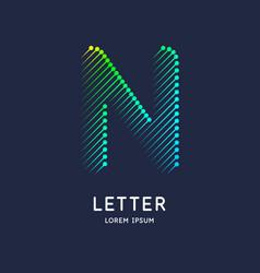 Letter n latin alphabet display vector