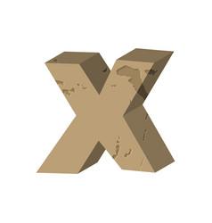 Letter x stone font rock alphabet symbol stones vector