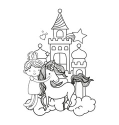 line girl hugging unicorn in the castle with vector image