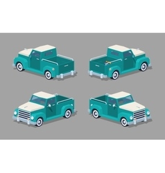 Low poly turquoise retro pickup vector