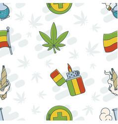 marijuana attributes icons set one vector image
