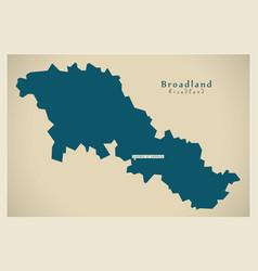 Modern map - broadland district of norfolk vector