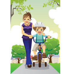mother teaching son biking vector image