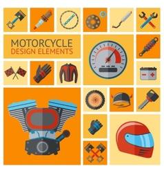 Motorcycle parts set vector image