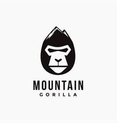 mountain head gorilla logo icon template vector image