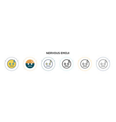 Nervous emoji icon in filled thin line outline vector