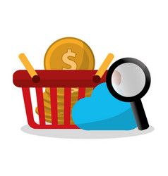 Online shopping related icons image vector