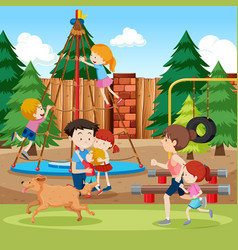 Park and playground scene vector