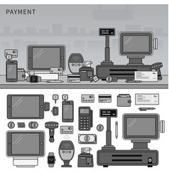 payment methods with devices on table line vector image
