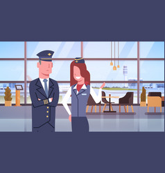 pilot and stewardess in airport airline crew vector image