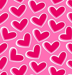Pink hearts in a seamless pattern vector image