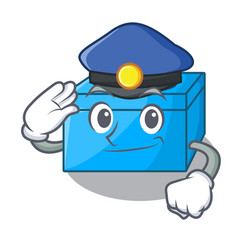 Police character tissue box on wood floors vector