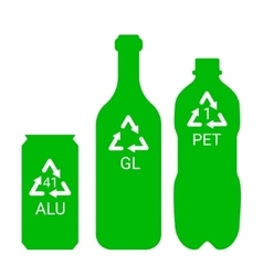Recycle garbage - plastic aluminium glass vector image