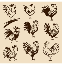Roosters in different poses silhouettes vector image