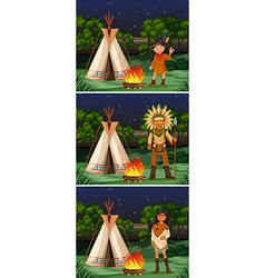 Scene with native american indians at campground vector