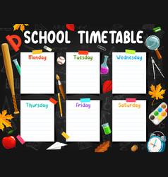 School timetable weekly planner chalkboard vector