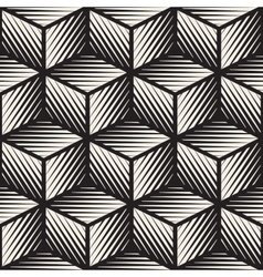 Seamless black and white cube shape lines vector