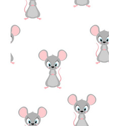 seamless pattern with cute rat vector image