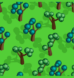 Seamless pattern with isometric trees vector