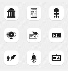 Set 9 editable school icons includes symbols vector