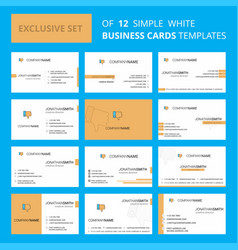 set of 12 dislike creative busienss card template vector image