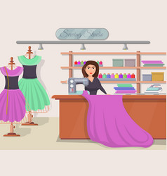sewing studio banner with young woman vector image