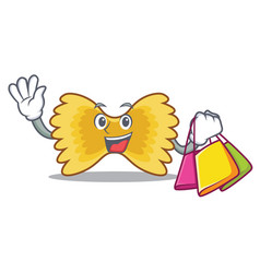 Shopping farfalle pasta character cartoon vector