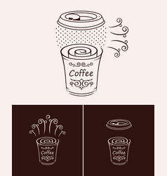 sketch hand drawn disposable coffee cup vector image