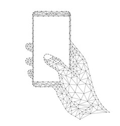smartphone in a human hand mobile phone vector image