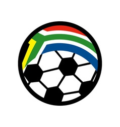 soccer ball with flag of republic of south africa vector image
