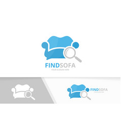 sofa and loupe logo combination couch and vector image