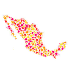 Star mosaic map of mexico vector