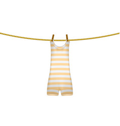 striped retro swimsuit hanging on rope vector image