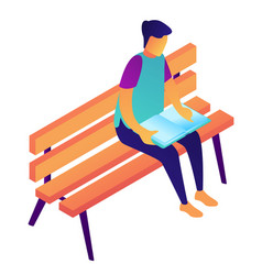 student reading a book sitting on a bench vector image