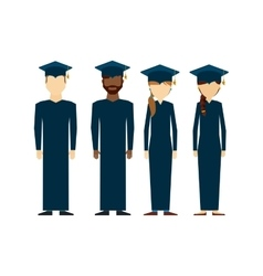 students graduated group icon vector image