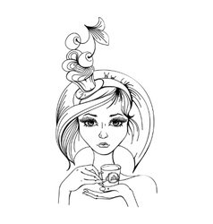 stylized woman with a cup of coffee vector image