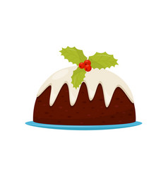 traditional christmas pudding with cream and red vector image
