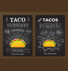 traditional mexican fastfood chalk board taco menu vector image